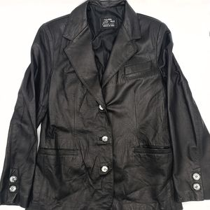 Vera Pelle Womens Black Leather Jacket S Pockets S
